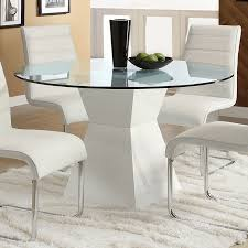 furniture of america mauna glass tempered glass round dining table
