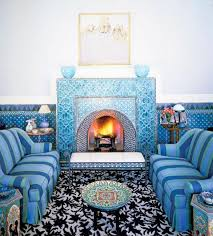 Living room design in Moroccan style, light and deep blue colors