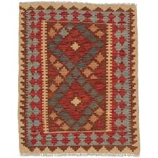 west elm tile wool kilim rug aquamarine hand woven red x 3