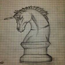 unicorn chess piece old art piece graphpaper by danbakerdesign