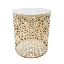 cocktail round marble side table with brass