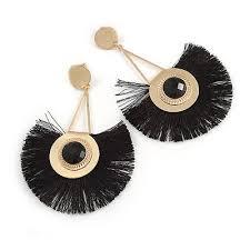 statement black fringe chandelier drop earrings in gold tone 9cm long
