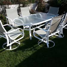 White metal patio chairs Outdoor Dining Furniture Slings Outdoor Bench Cushions Quality Interiors Patio Furniture Quality Interiors