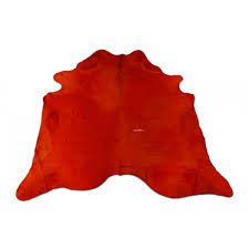 dyed orange cowhide rugs size 7 x 7 feet