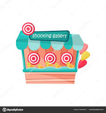 Amusement Park Design Game Shooting Gallery With Ducks And Targets At Amusement Park