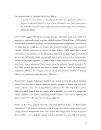 disability essay the medical model of disability 8 9