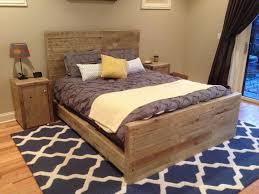 bedroom rustic light gray wooden queen size platform bed with rectangle headboard surprising wood