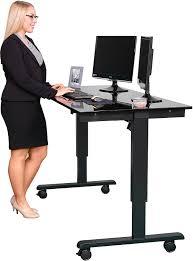 com 60 electric stand up desk black frame gloss black top kitchen dining
