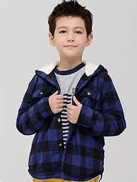 plaids casual hooded boy s trench