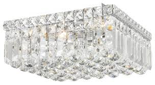 contemporary 4 light polished chrome crystal ball prism 12 square flush mount