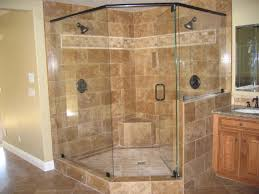 glass door one piece tiled shower stalls with small seats corner and brown color ideas