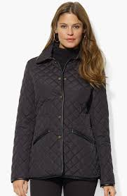 quilted jacket with faux leather lauren by ralph lauren striped track jacket in blue lyst
