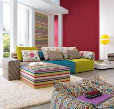 modern colorful furniture. Furniture : Colorful Modern Living Room Interior Design Feature Foamy Couch Decor Blue Yellow Seat And Rectangular Decorative Batik Cushion In O