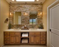 rustic chic bathroom ideas. This Phoenix Bathroom Has A Rustic Vibe With The Light Wood Vanity And Brick Wall Chic Ideas