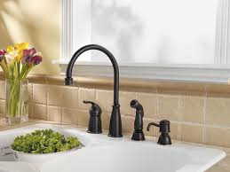 amazing oil rubbed bronze pull down kitchen faucet with soap dispenser black single handle bronze moen
