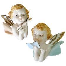 napco pair bisque cherubs angels wall