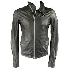 men s rick owens 38 black soft leather asymmetrical zip high collar moto jacket for