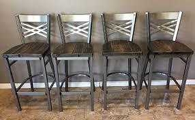 Patterned Bar Stools Stunning Reclaimed Barn Wood Bar Stool With Metal XBack Barn XO