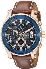 guess rose gold watch guess rose gold tone stainless steel chronograph brown strap men s watch u0673g3