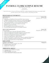 Payroll Clerk Resume Inspiration Payroll Resume New File Clerk Job Description Resume Perfect Resume