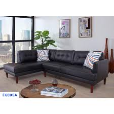 2 piece black faux leather left sectional sofa set