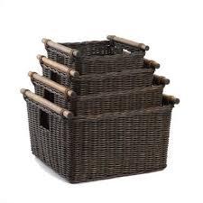 The Basket Lady Deep Pole Handle Wicker Storage Baskets in Antique Walnut  Brown, 4 sizes
