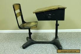 Wooden school desk and chair 1940s Old Fashioned School Desk Antique Vintage Student Adjustable School Desk Chair Back Luxetimepiecesco Old Fashioned School Desk Vintage Wooden School Desk Old School Desk