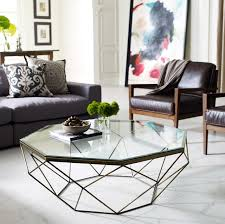 hexagon modern glass coffee table