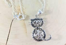 diamond cat necklace black diamond