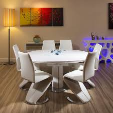 round dining room table sets for 6. modern dining set white gloss round/oval extending table+6 high chairs round room table sets for 6