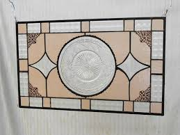 ooak recycled depression glass imperial cape cod depression glass stained glass window panel antique transom window vintage glass valance