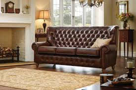traditional leather sofas. Interesting Leather Monk 3 Seater Leather Sofa  In Traditional Sofas F