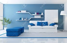 White Couch Living Room White Couch In A Blue Modern Living Room Rendering Stock Photo