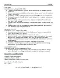 Bartending Resume Examples Cool Server And Bartender Resume Sapphirepartners