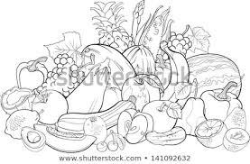 fruit and vegetables black and white. Black And White Cartoon Illustration Of Fruits Vegetables Big Group Food Design For Coloring Book Fruit