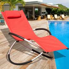 swimming pool lounge chair. Orbital Zero Gravity Folding Rocking Patio Lounge Chair With Pillow,Capacity 250 Pounds,Red Swimming Pool