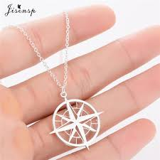 whole jisensp fashion jewelry gold compass pendant necklace women minimalist clavicle chain choker necklace women gift erkek kolye handmade jewelry