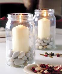 table decorating ideas candles glass jars filled pebbles decor