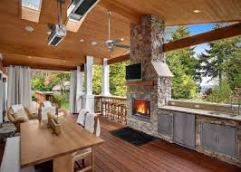 kitchen outdoor kitchen kits patio with marble countertop fireplace rectangle dining table wooden chairs under