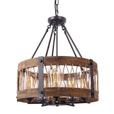 anmytek round wooden chandelier with clear glass shade rope and