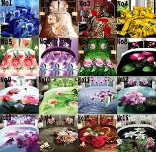 ups free 2016 3d bedding sets 4pcs charming blue roses pattern design printed comforter sets