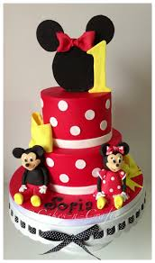Minnie Mouse Tiered Cake With Edible Mickey And Minnie Cakecentralcom