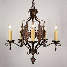 handsome antique iron spanish revival five light chandelier with shields nc1113 for