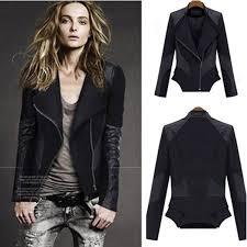 2016 hot womens celebrity style outwear faux leather spliced biker zipper fitted jacket coat tops