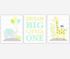 canvas prints for baby room. Baby Boys Nursery Canvas Wall Art Yellow Teal Aqua Dream Big Little One Elephant Giraffe Jungle Safari Zoo Animals Prints Decor For Room Y