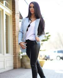 baby blue leather jacket outfit