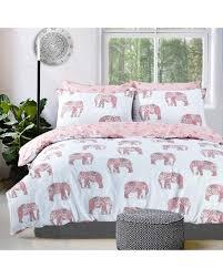 elephant pink duvet cover set white king