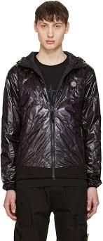 stone island stylish black hooded jacket