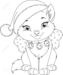 Christmas Cat Coloring Page Royalty Free Cliparts Vectors And