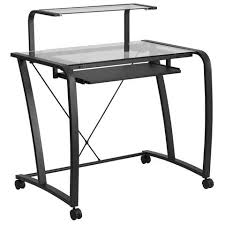 liah mobile black glass office desk with pull out tray and platform emfurn black glass office desk 1